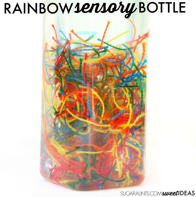Rainbow friendship thread sensory bottle