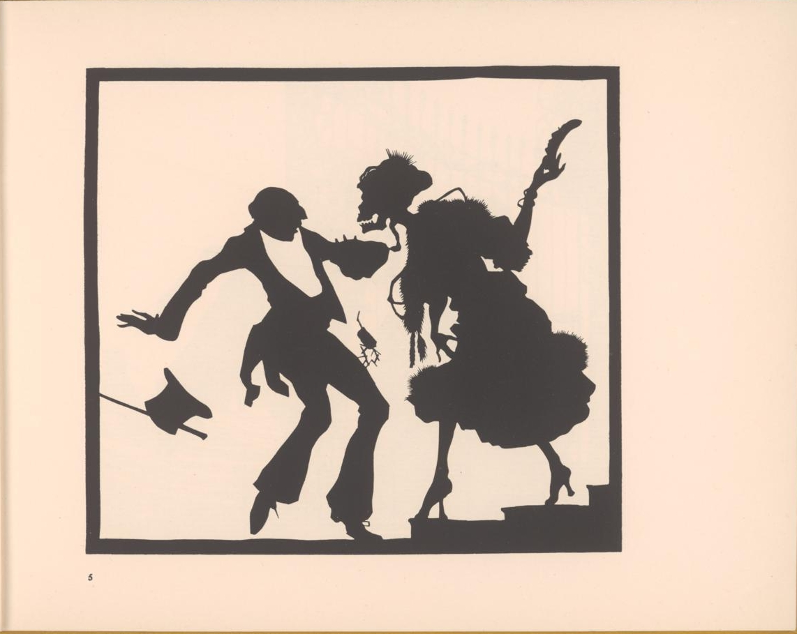 danse macabre silhouette figure dressed as lady takes upper class gent to death