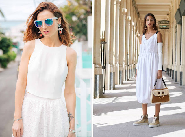 Белые платья и блузки с цветными и металлизированными аксессуарами