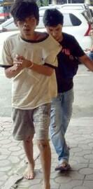 Rinto tersangka pencuri Hp di rumah Kapolres Simalungun.