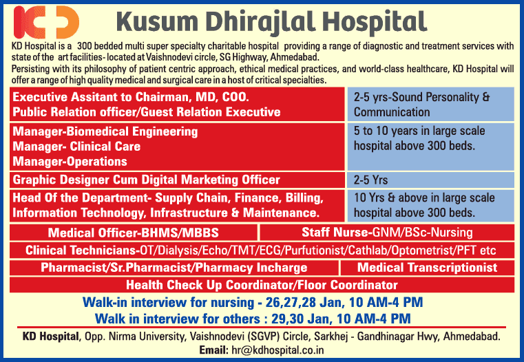 Kusum Dhirajlal Hospital having vacancy for Pharmacist/Sr