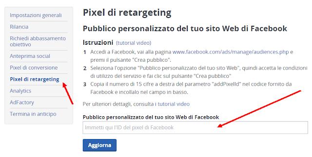 Pixel di Retargeting su facebook