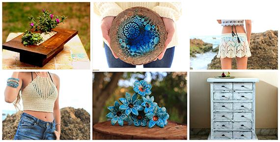 דוגמאות לפריטים שימכרו ביריד המתנות של אורלי: חצאית, גופיה, קערית, פרחים מקרמיקה, פריטי עץ.