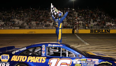 Todd Gilliland captured his first NASCAR K&N Pro Series East win of the season with a victory in the Stars & Stripes 150 at Berlin Raceway on Saturday.  #NASCAR