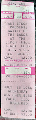 Birch Hill nightclub ticket stub for Battle of the Bands July 23, 1986