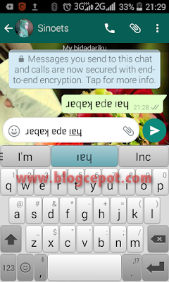 cara membuat tulisan terbalik pada whatsapp