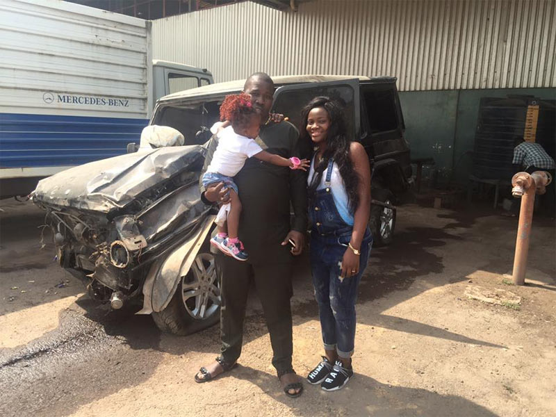 Photos: Man happy as he comes out alive after wrecking G-wagon