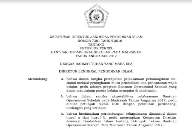 Juknis BOS Madrasah 2017 PDF