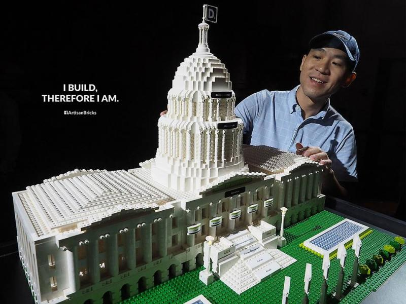 Mr Kong's company Artisan Bricks designed and built this model of the Deloitte House of Governance, which is inspired by the US Capitol Building.