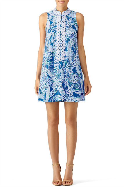 Lilly Pulitzer Blue Printed Lace Shift Dress