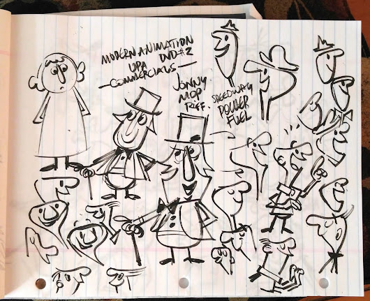 Cartoon Moderne UPA Style Doodle Page