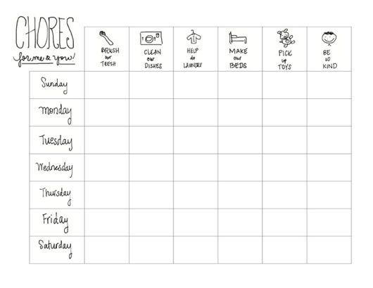 Printable Kids Chore Chart A Guest Post - The Chirping Moms
