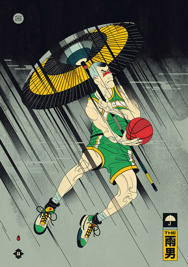 Andrew Archer (New Zealand) Edo Ball - NBA Basketball Art