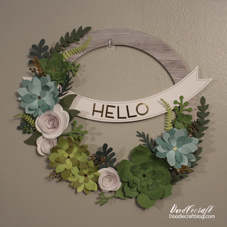 Make a succulent flower wreath with paper.