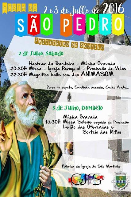imagem do Cartaz da festa de São Pedro 2016 em Freixieiro de Soutelo
