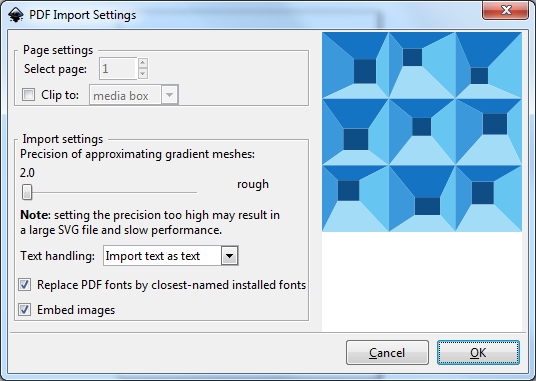 PDF Import Settings Dialog
