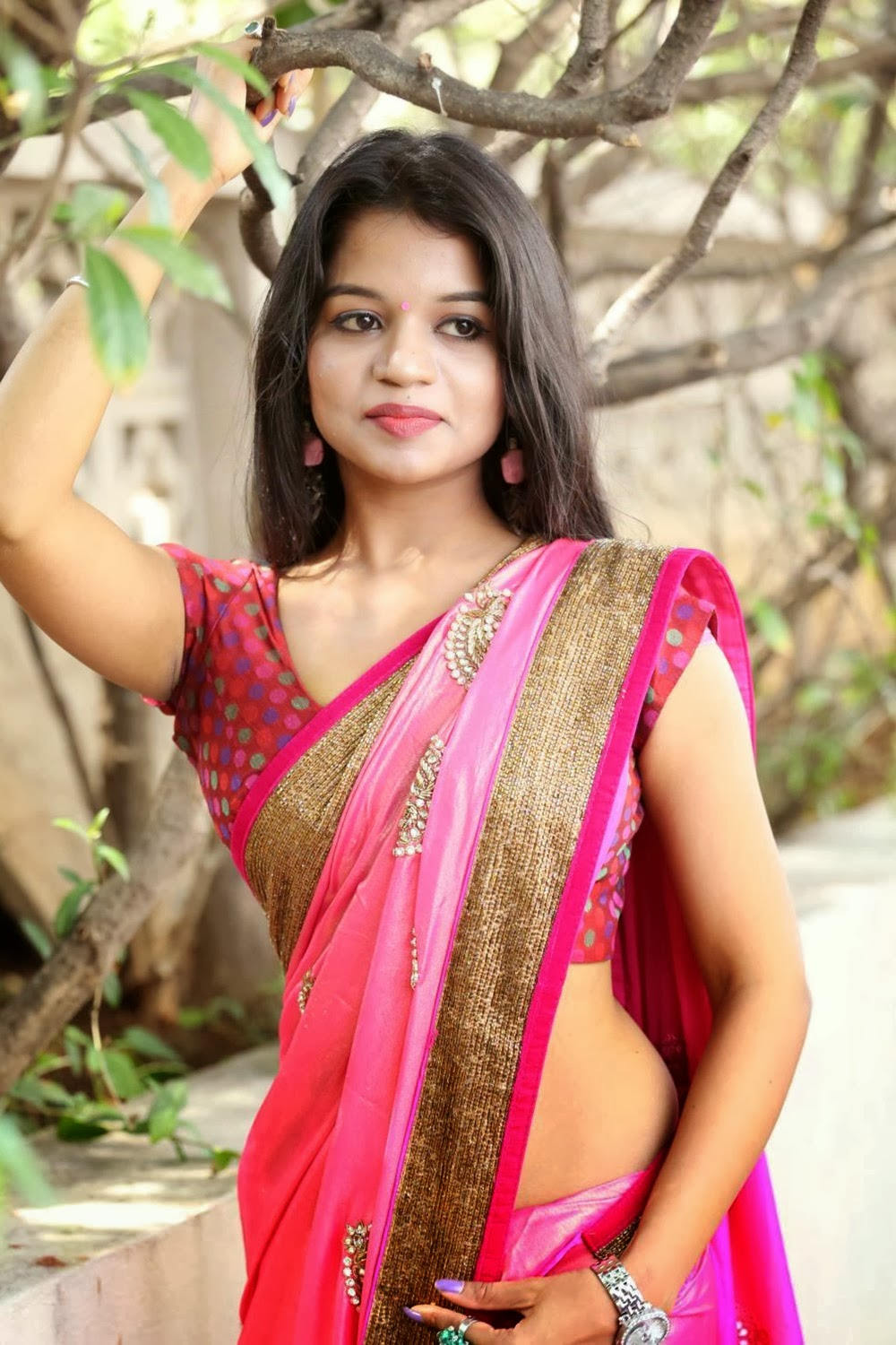 Telugu Actress Bhavya Sris Most Sexiest Navel Showing Images-Hot Boob Cleavage Unseen -8872