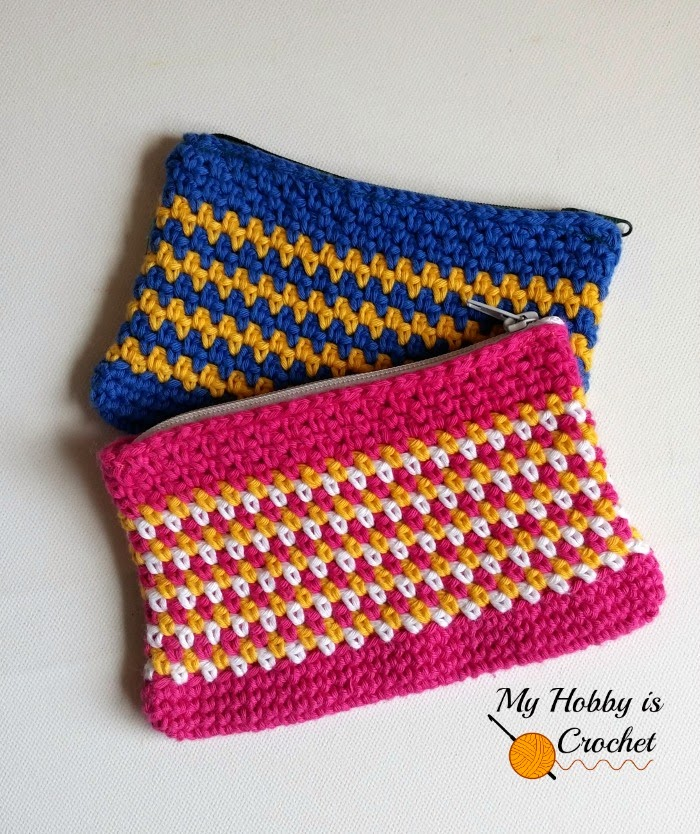 Moss Stitch Zipper Pouch - Free Crochet Pattern