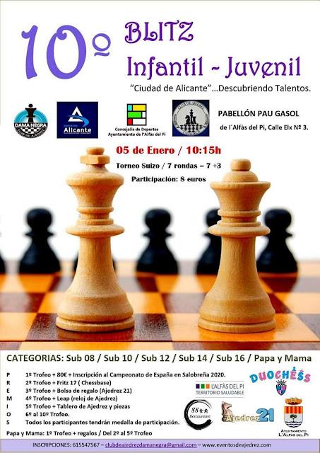5 enero, 10º Blitz Infantil – Juvenil, «Ciudad de Alicante»… Descubriendo Talentos