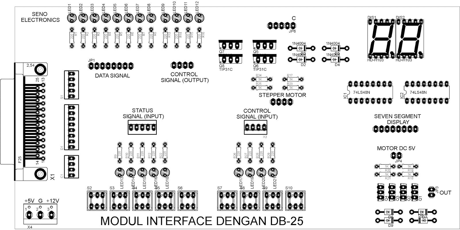 Rangkaian Modul Interface Dengan Db 25 Elektronika Kita