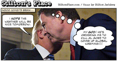 stilton's place, stilton, political, humor, conservative, cartoons, jokes, hope n' change, comey, testimony, fbi, trump, obstruction, justice