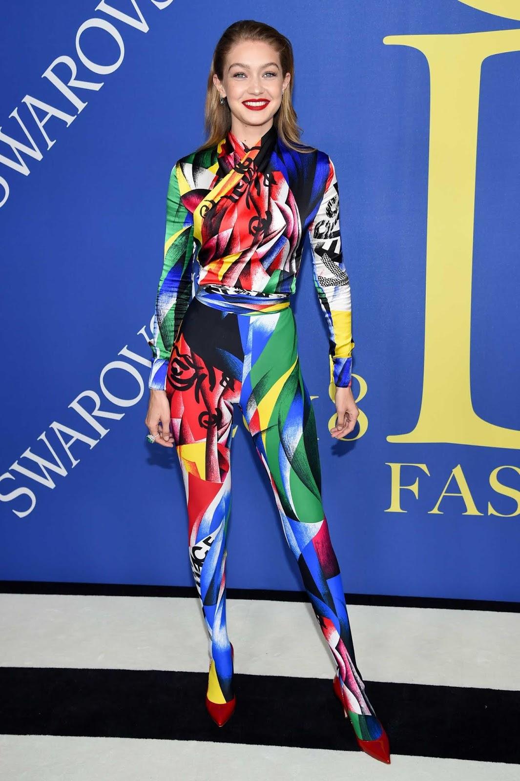 Gigi Hadid flaunts graphic suit at the 2018 CFDA Fashion Awards