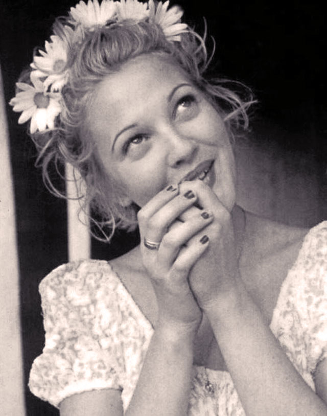 90's drew barrymore with daisies in her hair