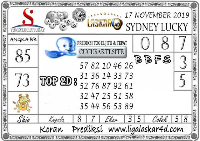 Prediksi Sydney Lucky Today LASKAR4D 17 NOVEMBER 2019