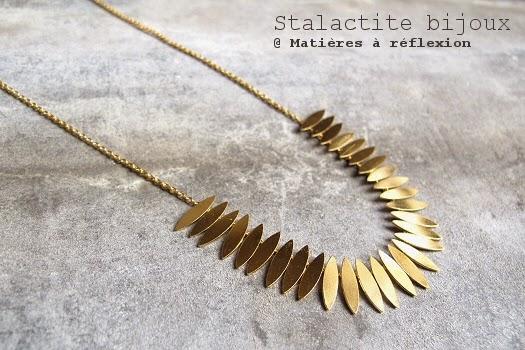 Bijoux Stalactite collier doré feuilles Zao