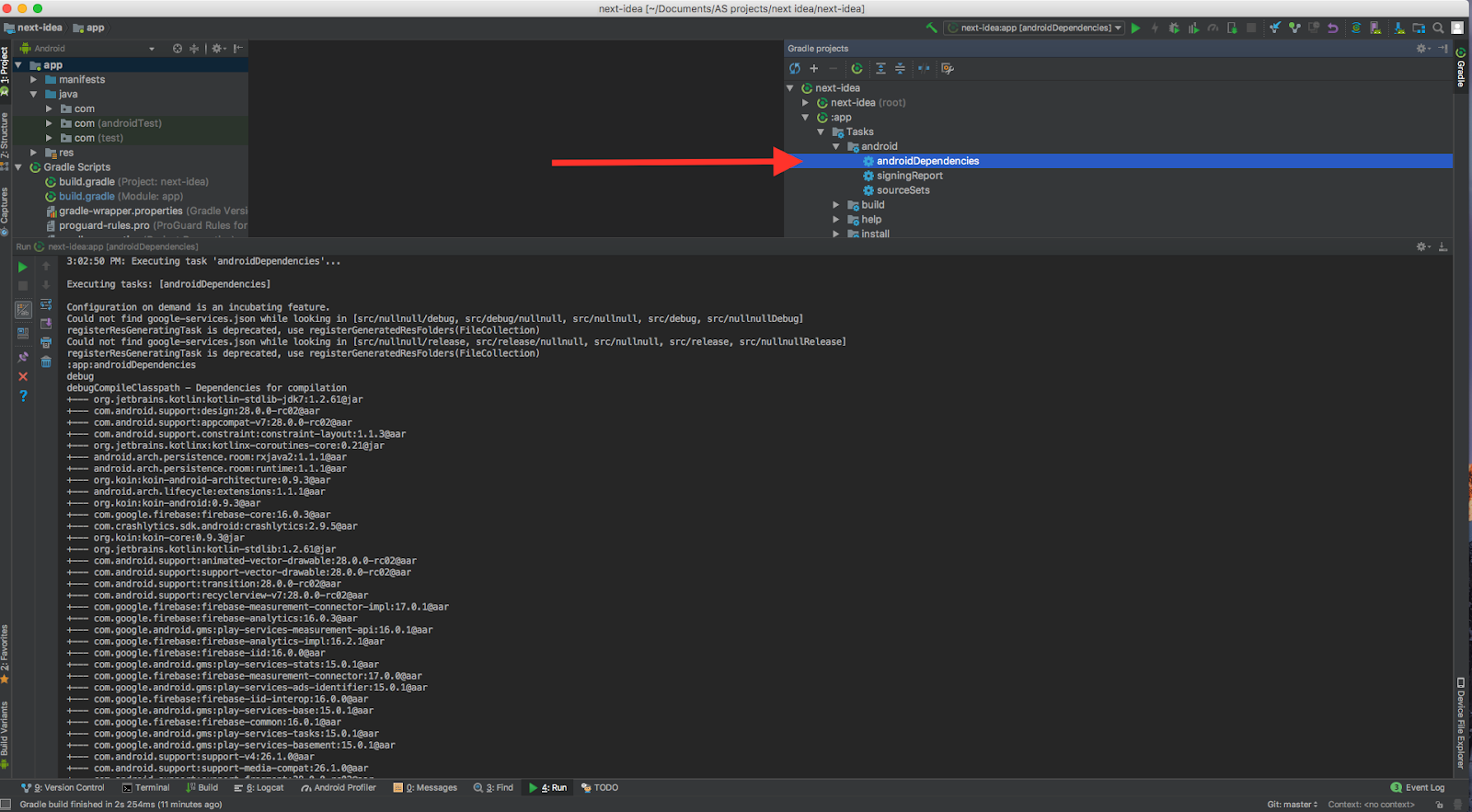 How to use gradle to find dependency tree