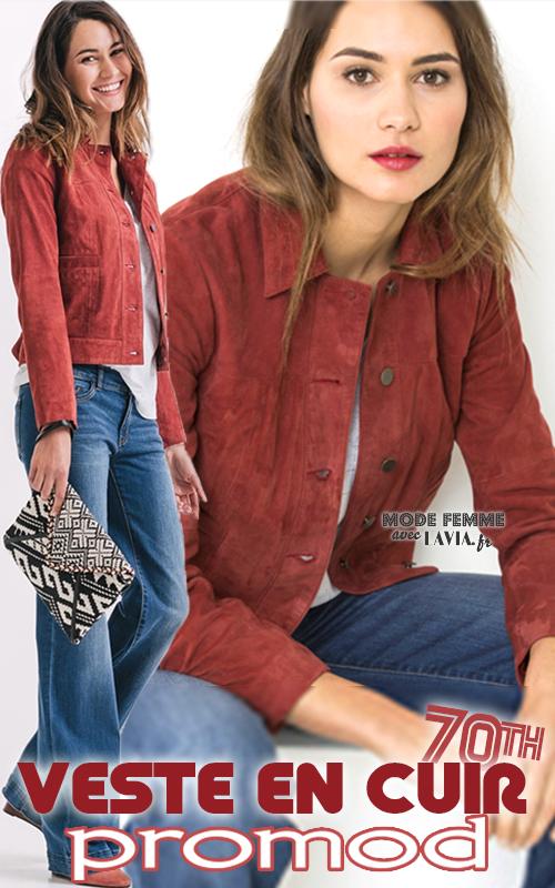 Veste courte en daim rouge Promod
