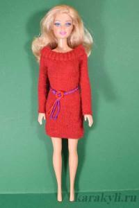 Трикотажное платье для Барби из носка