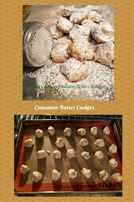 these are a butter cookie with powdered sugar on top the can is in the photo to sprinkle the sugar it has holes in it