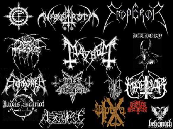 logos de diferentes bandas de black metal noruego