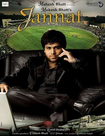 Poster Of Jannat 2008 Hindi 400MB DVDRip 480p Watch Online Free Download Worldfree4u