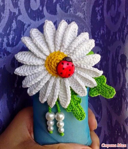 "Hermosa flor ""margarita"" tejida al crochet"