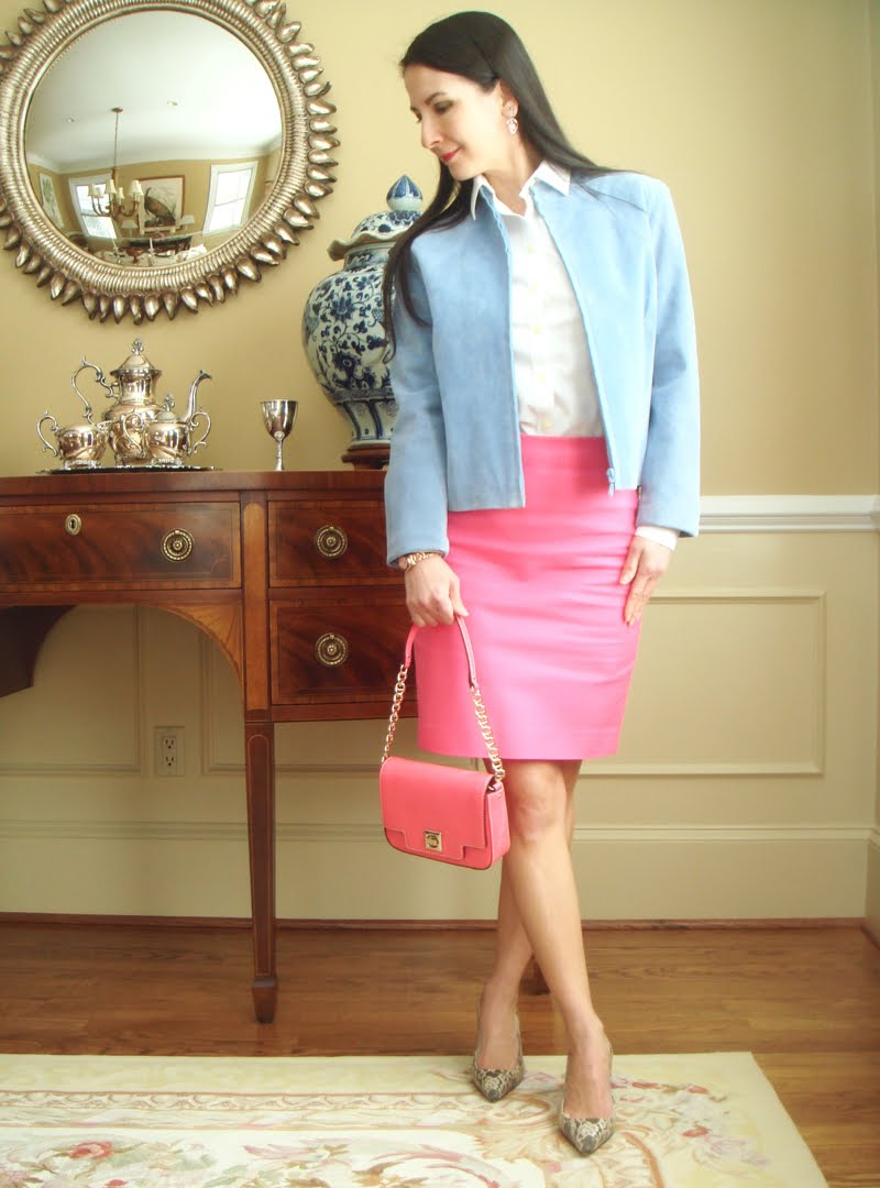 Bright Pink Work Outfit - turned sideways