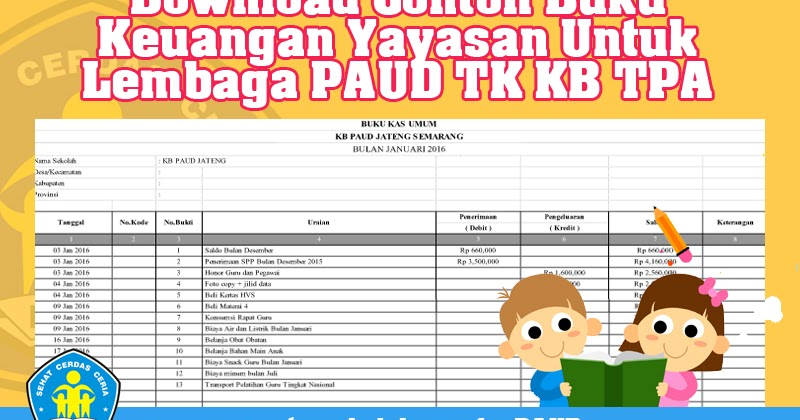 Download Contoh Buku Keuangan Yayasan Untuk Lembaga Paud Tk Kb Tpa Sps Format Doc Dan Xls