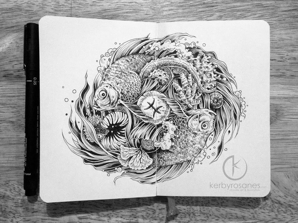 09-Pisces-Kerby-Rosanes-Detailed-Moleskine-Doodles-Illustrations-and-Drawings-www-designstack-co