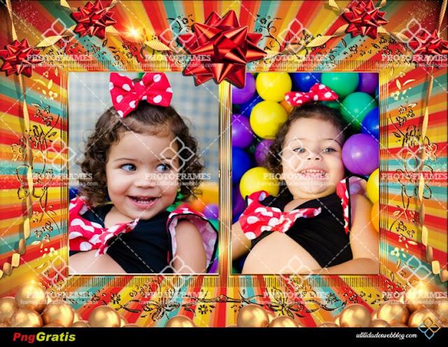 Colorido marco de cumpleaños para colocar 2 fotos