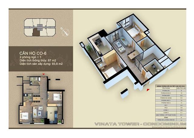 Thiết kế căn hộ C-06 Vinata Towers, DT 87m2, 2PN, 2VS