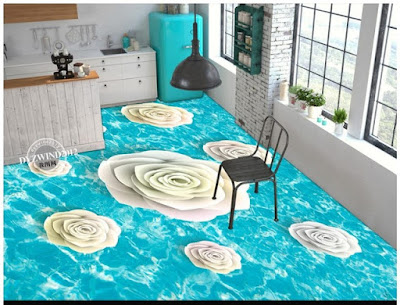kitchen floor tiles ideas in 3d designs with floral pattern for wonderful interior, turn your kitchen into a dream place