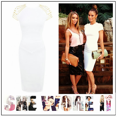 TOWIE, Chloe Sims, Celeb Boutique, White, Bodycon, Pencil, Midi, Dress, Gold, Spike, Stud, Embellishment