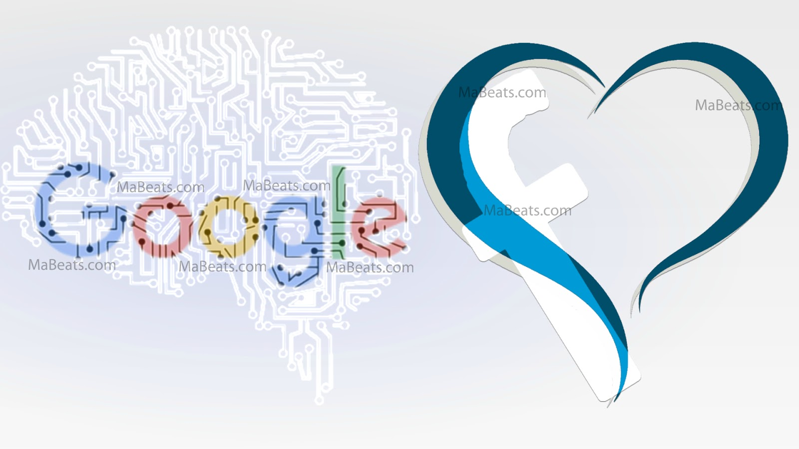 Google, Facebook, heart, brain, blue heart, white background, cyber brain, Internet