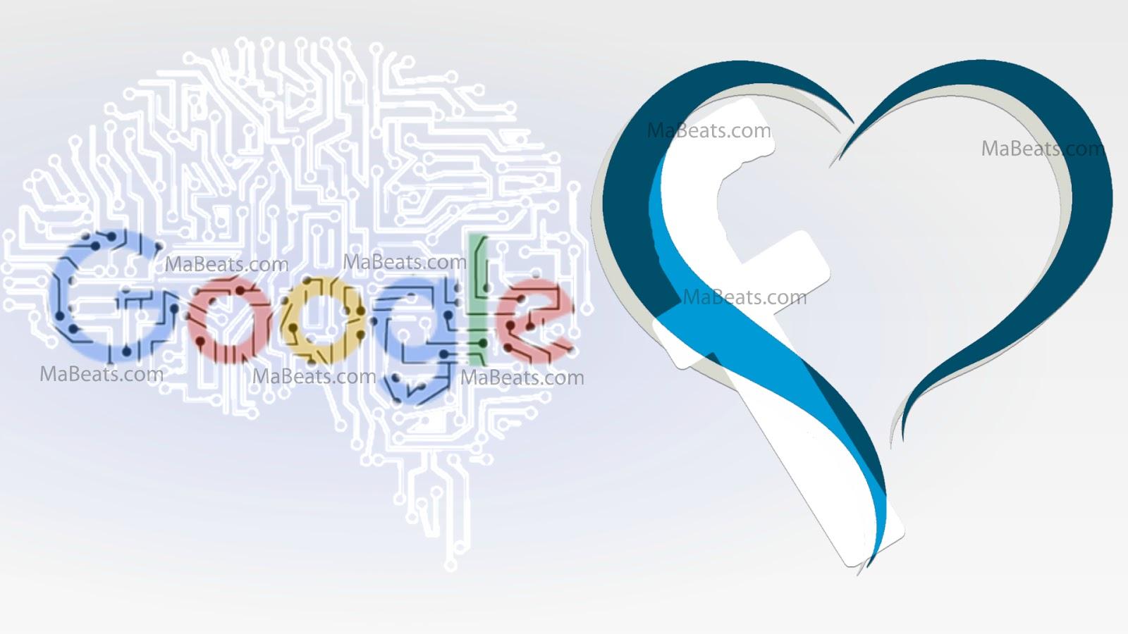 Google, Facebook, heart, brain, blue heart, white background, cyber brain, Internet