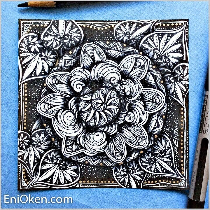 08-Zendala-Eni-Oken-Ink-and-Pencil-Fantasy-and-Zentangle-Drawings-www-designstack-co