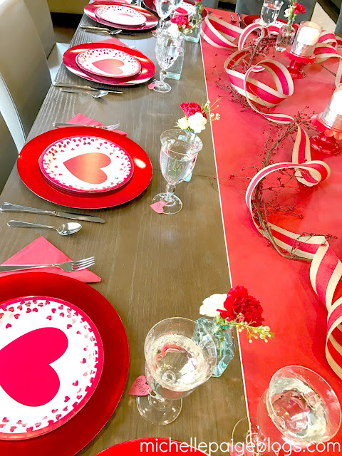 Fancy paper plate party for Valentine's Day.