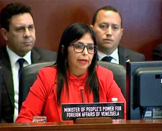 ¡DIO PENA AJENA! Lo que dijo y lo que obvio Delcy Eloína en su discurso en la OEA