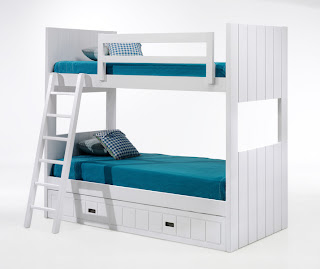 Litera lacada blanca con 3 camas for Recamaras infantiles coppel