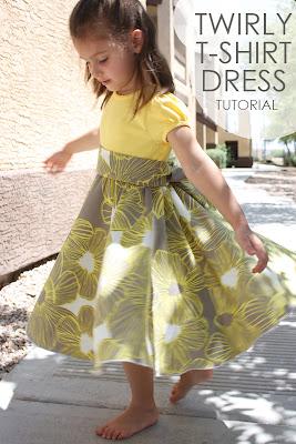 http://craftycupboard.net/2012/05/twirly-t-shirt-dress-tutorial/